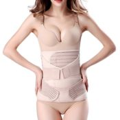 3 in 1 Postpartale Unterstützung Recovery Bauch Taille Becken Gürtel-Taille Schlankheits-Gürtel (plus größe für taille 96cm-114cm, Beige) - 1